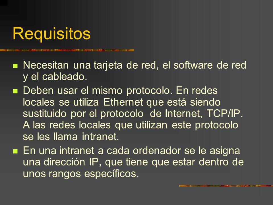 Requisitos Necesitan una tarjeta de red, el software de red y el cableado. Deben usar el mismo protocolo. En redes locales se utiliza Ethernet que est