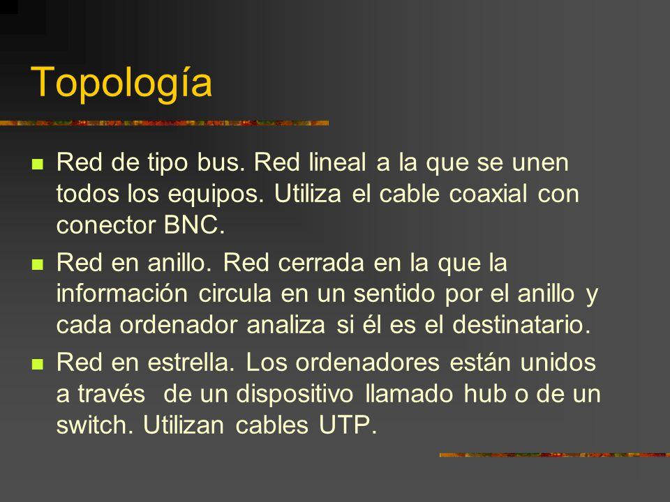Topología Red de tipo bus. Red lineal a la que se unen todos los equipos. Utiliza el cable coaxial con conector BNC. Red en anillo. Red cerrada en la