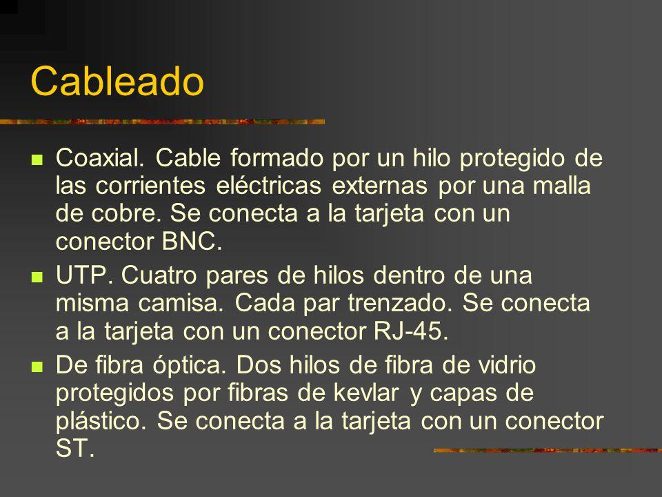 Cableado Coaxial. Cable formado por un hilo protegido de las corrientes eléctricas externas por una malla de cobre. Se conecta a la tarjeta con un con