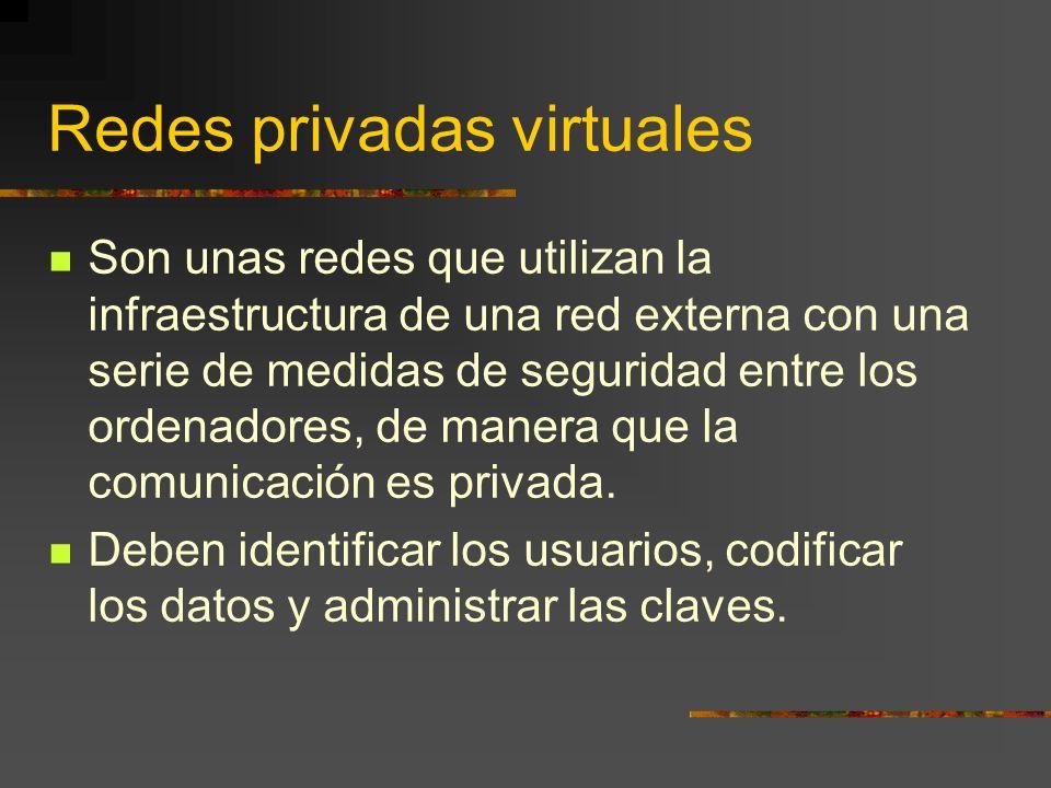 Redes privadas virtuales Son unas redes que utilizan la infraestructura de una red externa con una serie de medidas de seguridad entre los ordenadores