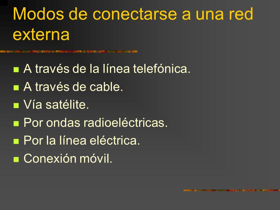 Modos de conectarse a una red externa A través de la línea telefónica. A través de cable. Vía satélite. Por ondas radioeléctricas. Por la línea eléctr