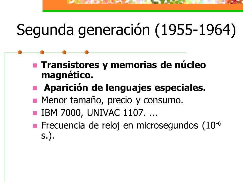 Segunda generación (1955-1964) Transistores y memorias de núcleo magnético. Aparición de lenguajes especiales. Menor tamaño, precio y consumo. IBM 700