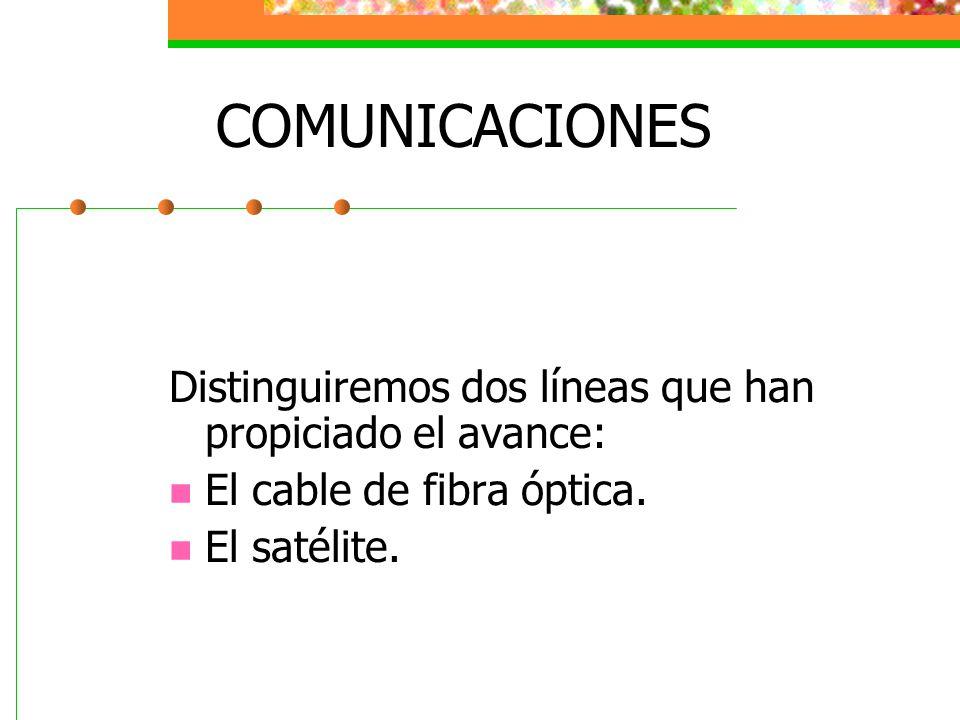 COMUNICACIONES Distinguiremos dos líneas que han propiciado el avance: El cable de fibra óptica. El satélite.
