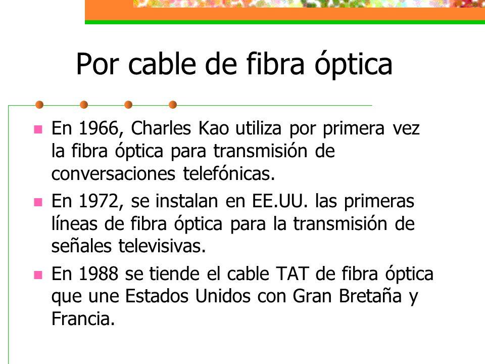 Por cable de fibra óptica En 1966, Charles Kao utiliza por primera vez la fibra óptica para transmisión de conversaciones telefónicas. En 1972, se ins