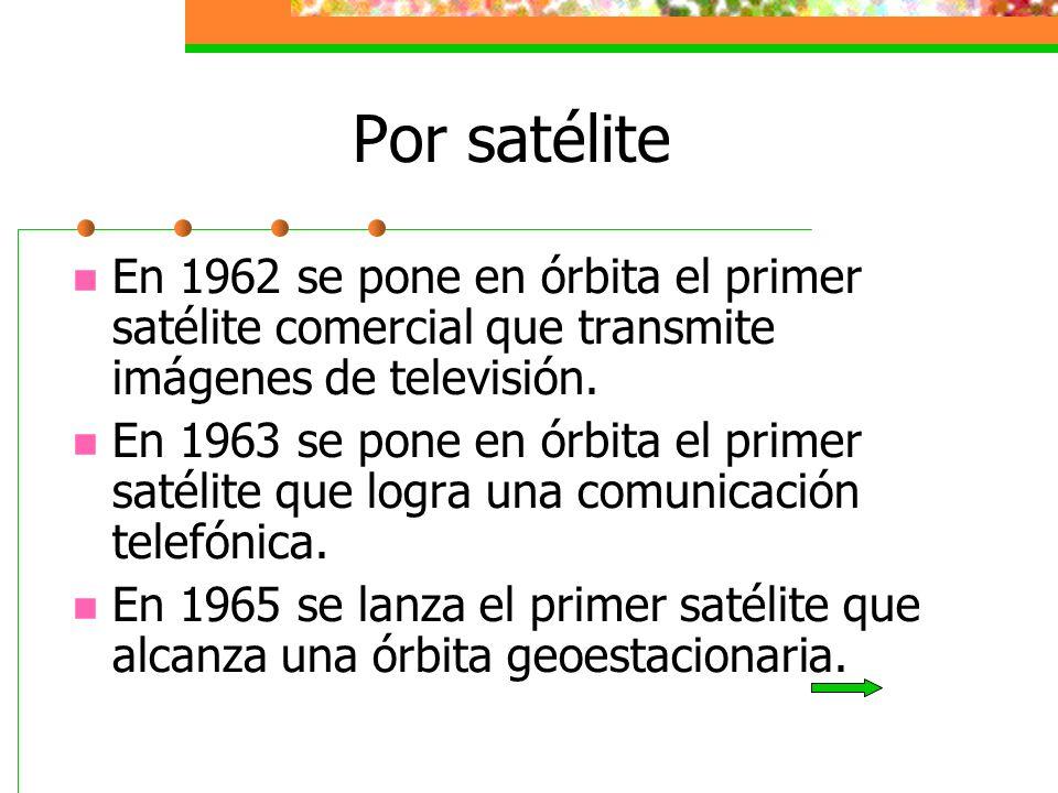 Por satélite En 1962 se pone en órbita el primer satélite comercial que transmite imágenes de televisión. En 1963 se pone en órbita el primer satélite