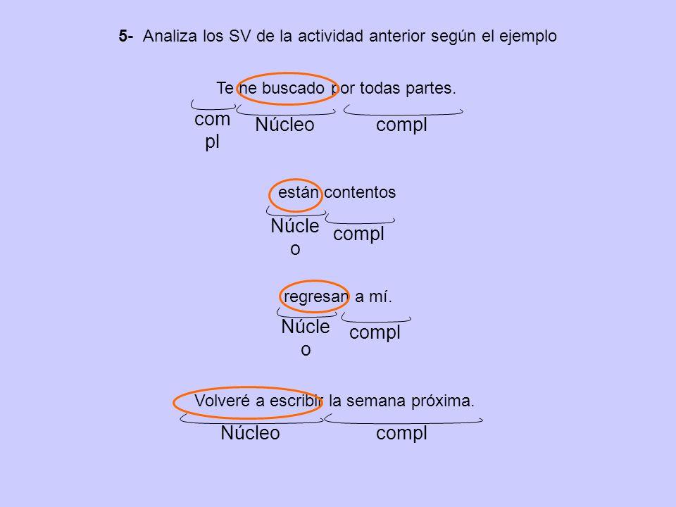 5- Analiza los SV de la actividad anterior según el ejemplo Te he buscado por todas partes.