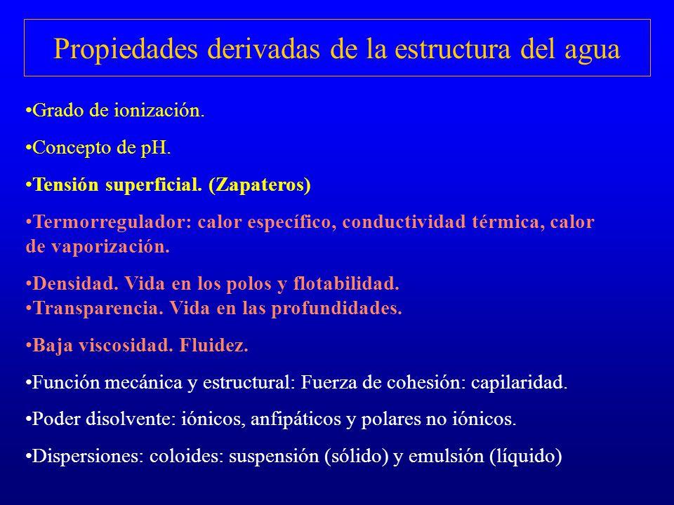 Propiedades derivadas de la estructura del agua Grado de ionización. Concepto de pH. Tensión superficial. (Zapateros) Termorregulador: calor específic