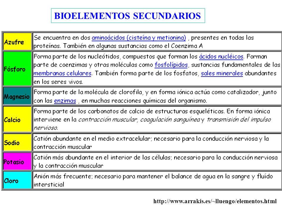 BIOELEMENTOS SECUNDARIOS http://www.arrakis.es/~lluengo/elementos.html