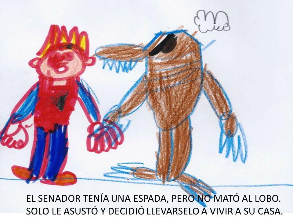 EL SENADOR TENÍA UNA ESPADA, PERO NO MATÓ AL LOBO. SOLO LE ASUSTÓ Y DECIDIÓ LLEVARSELO A VIVIR A SU CASA.