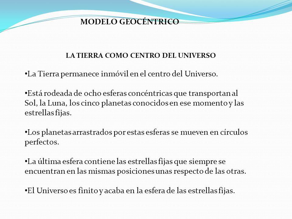 LA TIERRA COMO CENTRO DEL UNIVERSO La Tierra permanece inmóvil en el centro del Universo. Está rodeada de ocho esferas concéntricas que transportan al