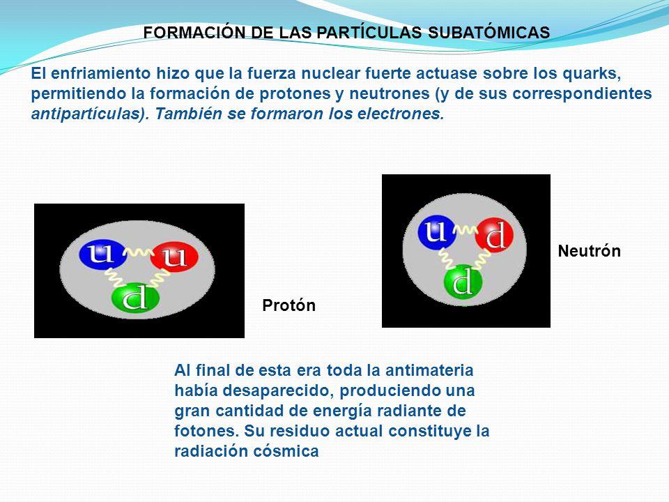 FORMACIÓN DE LAS PARTÍCULAS SUBATÓMICAS El enfriamiento hizo que la fuerza nuclear fuerte actuase sobre los quarks, permitiendo la formación de proton