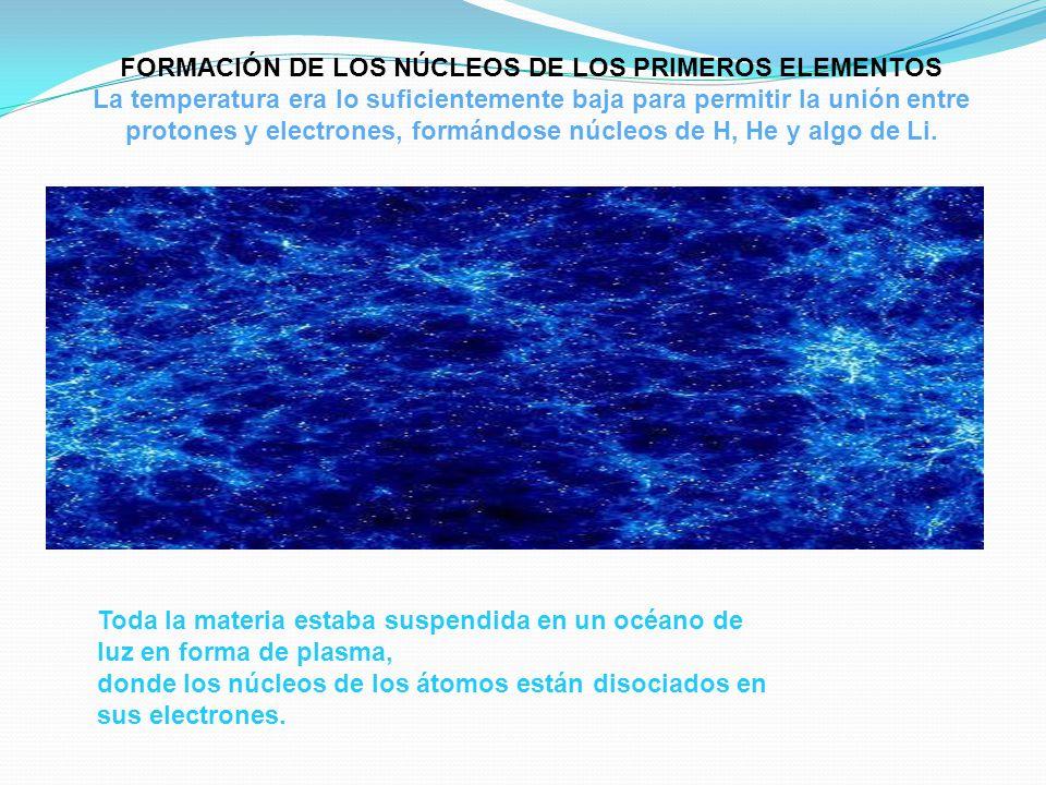 FORMACIÓN DE LOS NÚCLEOS DE LOS PRIMEROS ELEMENTOS La temperatura era lo suficientemente baja para permitir la unión entre protones y electrones, form