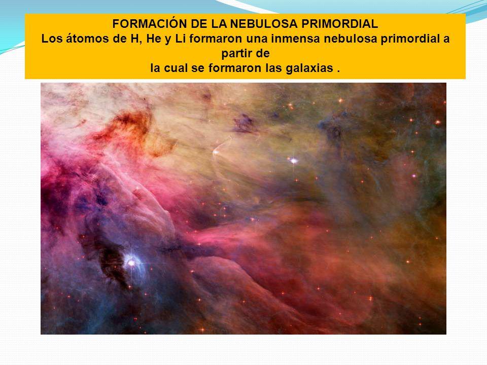FORMACIÓN DE LA NEBULOSA PRIMORDIAL Los átomos de H, He y Li formaron una inmensa nebulosa primordial a partir de la cual se formaron las galaxias.