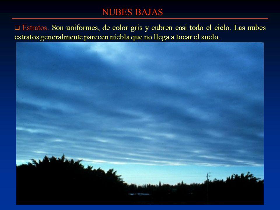 NUBES BAJAS Estratos. Son uniformes, de color gris y cubren casi todo el cielo. Las nubes estratos generalmente parecen niebla que no llega a tocar el