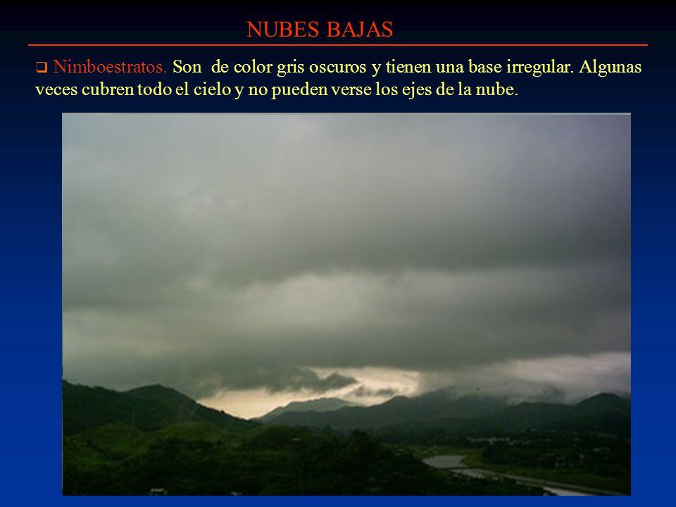 NUBES BAJAS Nimboestratos. Son de color gris oscuros y tienen una base irregular. Algunas veces cubren todo el cielo y no pueden verse los ejes de la