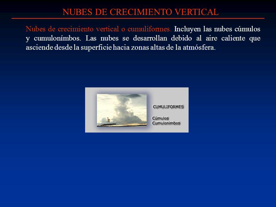 NUBES DE CRECIMIENTO VERTICAL Nubes de crecimiento vertical o cumuliformes. Incluyen las nubes cúmulos y cumulonímbos. Las nubes se desarrollan debido