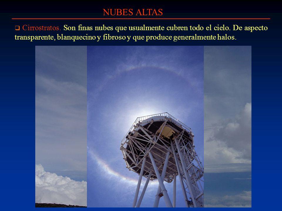 NUBES ALTAS Cirrostratos. Son finas nubes que usualmente cubren todo el cielo. De aspecto transparente, blanquecino y fibroso y que produce generalmen