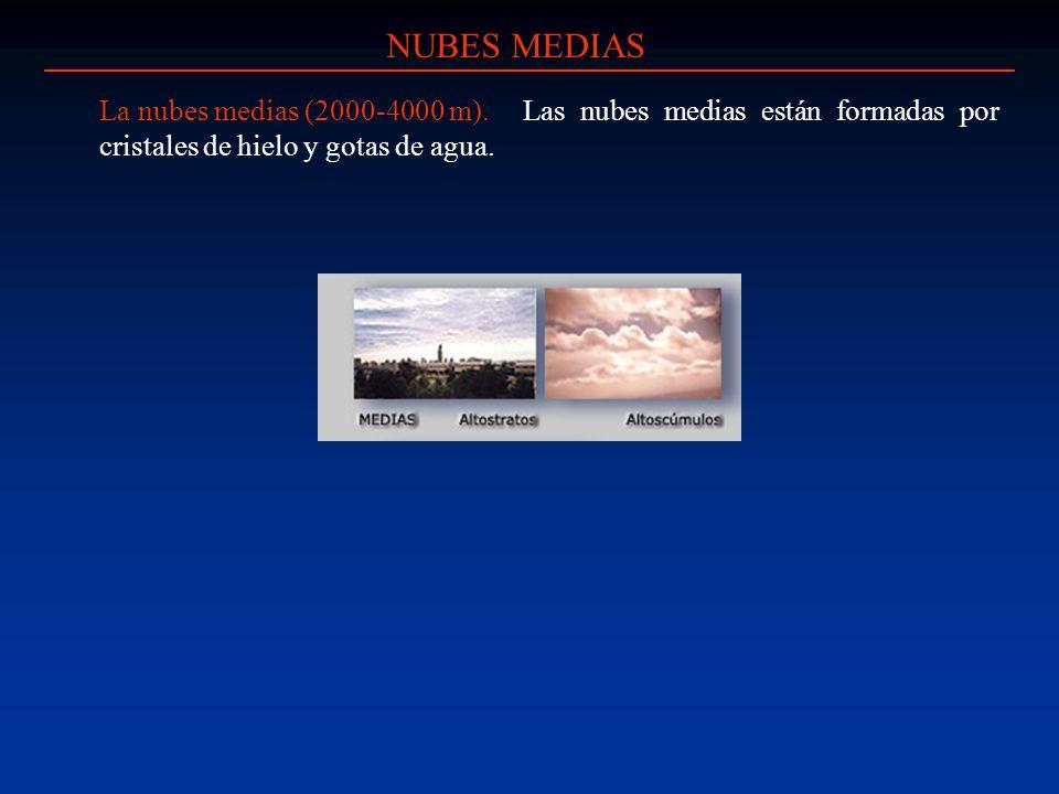 NUBES MEDIAS La nubes medias (2000-4000 m). Las nubes medias están formadas por cristales de hielo y gotas de agua.