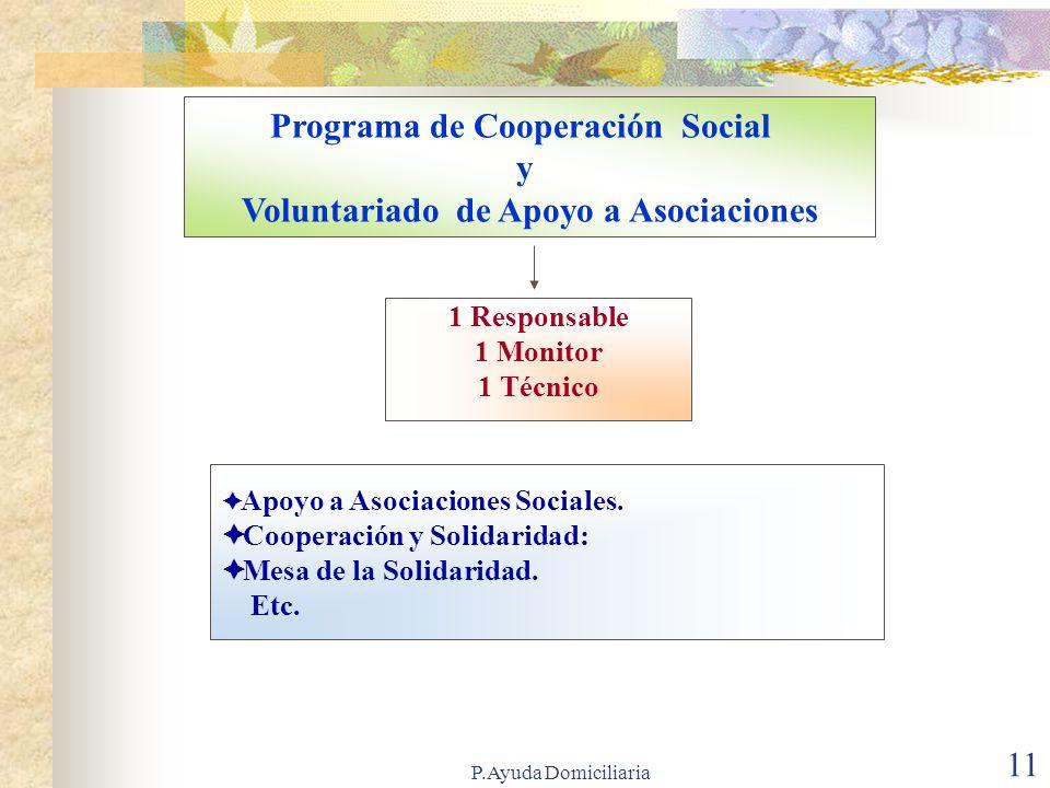P.Ayuda Domiciliaria 10 Programa de Familia y Convivencia 1 Responsable.