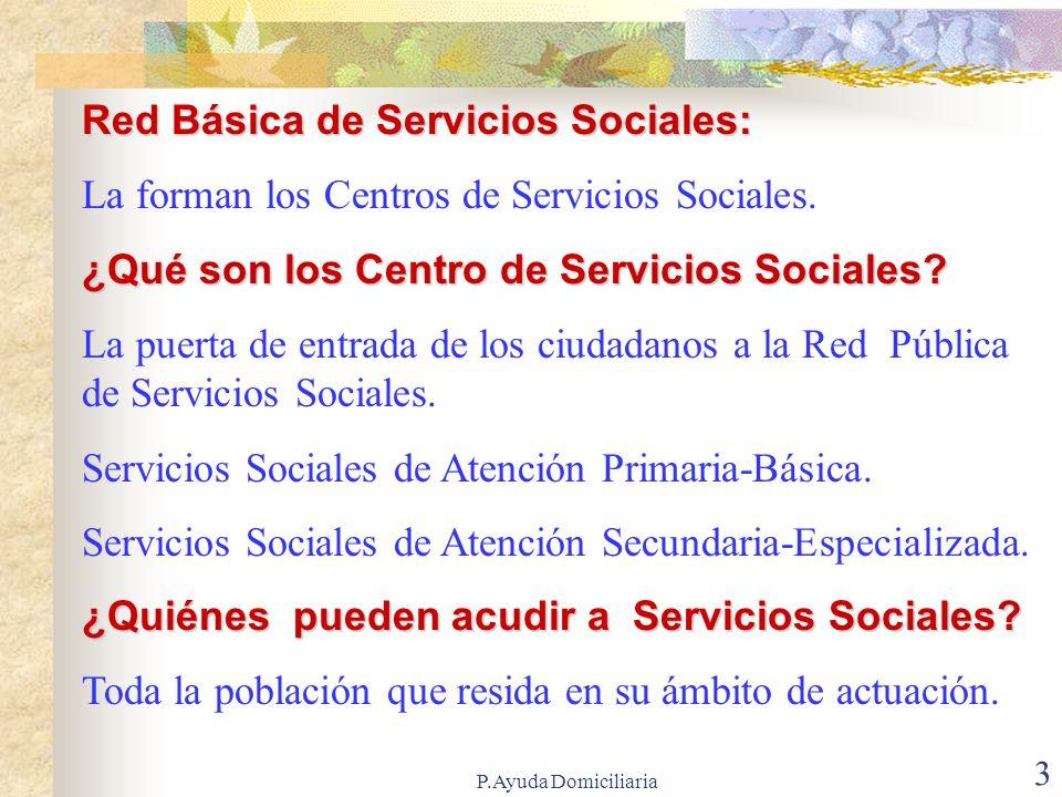 P.Ayuda Domiciliaria 3 Red Básica de Servicios Sociales: La forman los Centros de Servicios Sociales.