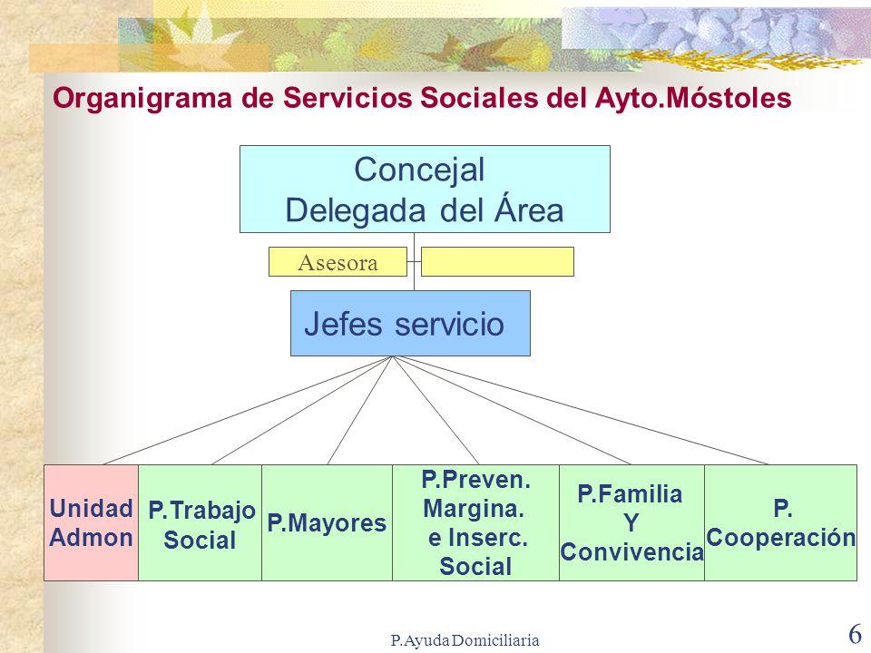 P.Ayuda Domiciliaria 16 Servicio de Ayuda a Domicilio Servicio que presta: Atención a personas mayores o familias que se hallen en situaciones de especial necesidad.