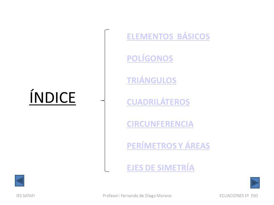 IES SATAFIProfesor: Fernando de Diego MorenoGEOMETRÍA 1º ESO DEFINICIÓN: Dos rectas secantes son perpendiculares si las cuatro semirrectas resultantes forman ángulos iguales.