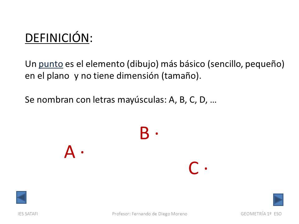 IES SATAFIProfesor: Fernando de Diego MorenoGEOMETRÍA 1º ESO DEFINICIÓN: Una recta es un conjunto infinito de puntos alineados, sin huecos, y sin extremos (longitud infinita).