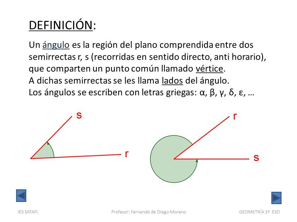 IES SATAFIProfesor: Fernando de Diego MorenoGEOMETRÍA 1º ESO DEFINICIÓN: Llamamos ángulo completo al equivalente a cuatro ángulos rectos, es decir, una vuelta entera.