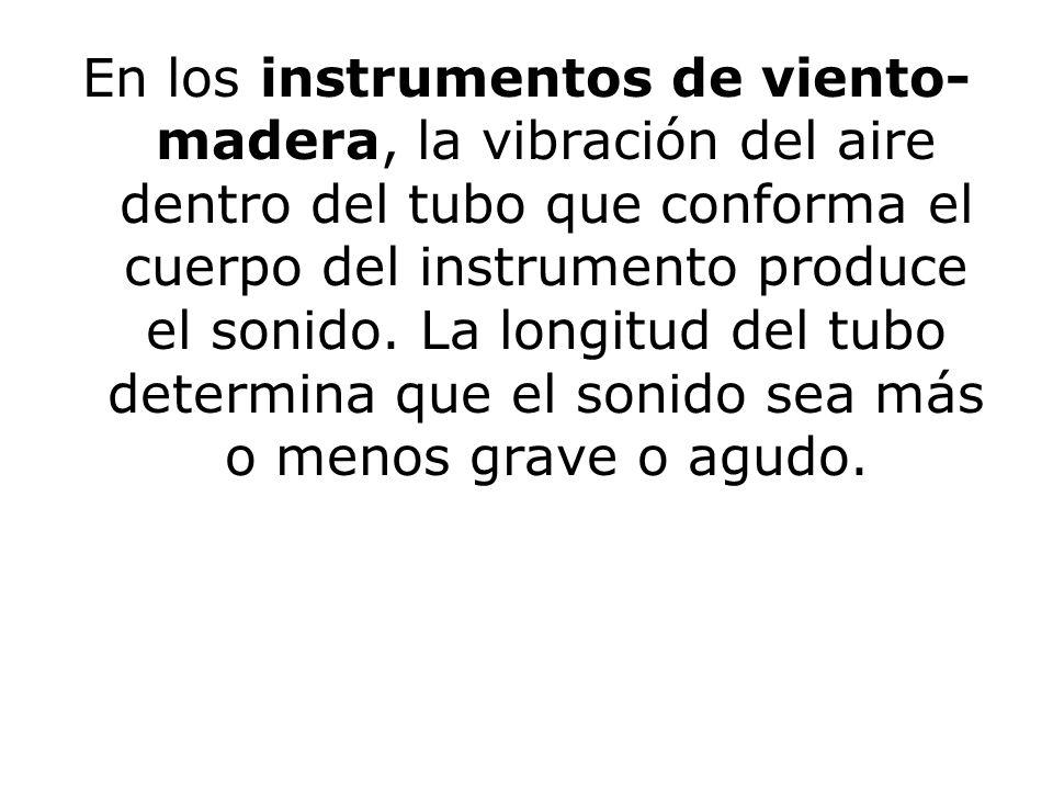 En los instrumentos de viento- madera, la vibración del aire dentro del tubo que conforma el cuerpo del instrumento produce el sonido. La longitud del