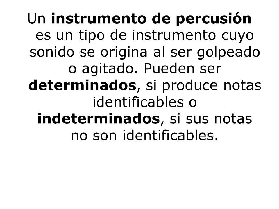 Un instrumento de percusión es un tipo de instrumento cuyo sonido se origina al ser golpeado o agitado. Pueden ser determinados, si produce notas iden