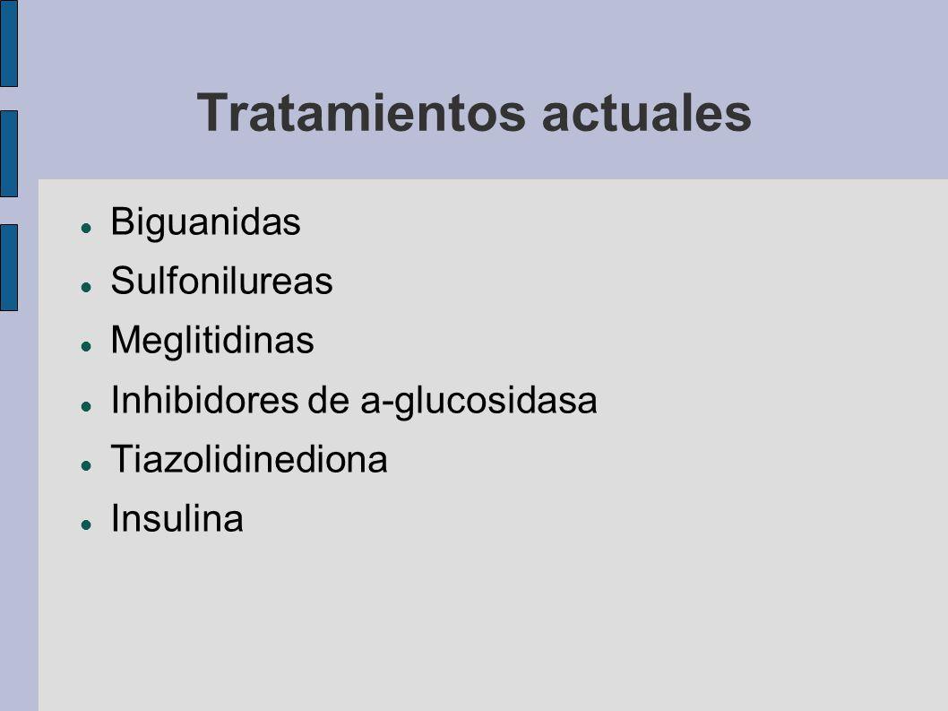 Tratamientos actuales Biguanidas Sulfonilureas Meglitidinas Inhibidores de a-glucosidasa Tiazolidinediona Insulina