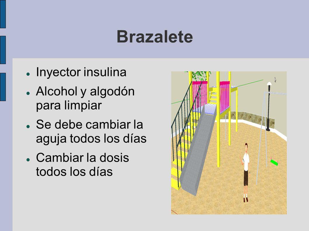 Brazalete Inyector insulina Alcohol y algodón para limpiar Se debe cambiar la aguja todos los días Cambiar la dosis todos los días