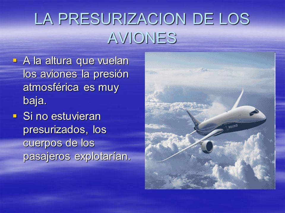 LA PRESURIZACION DE LOS AVIONES A la altura que vuelan los aviones la presión atmosférica es muy baja. A la altura que vuelan los aviones la presión a