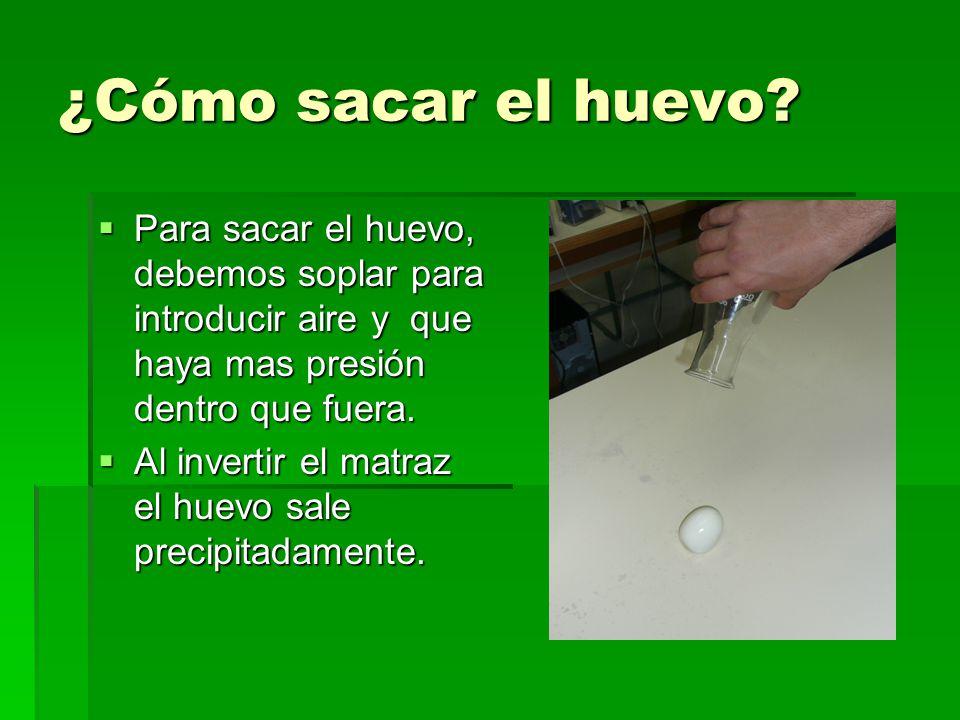 ¿Cómo sacar el huevo? Para sacar el huevo, debemos soplar para introducir aire y que haya mas presión dentro que fuera. Al invertir el matraz el huevo