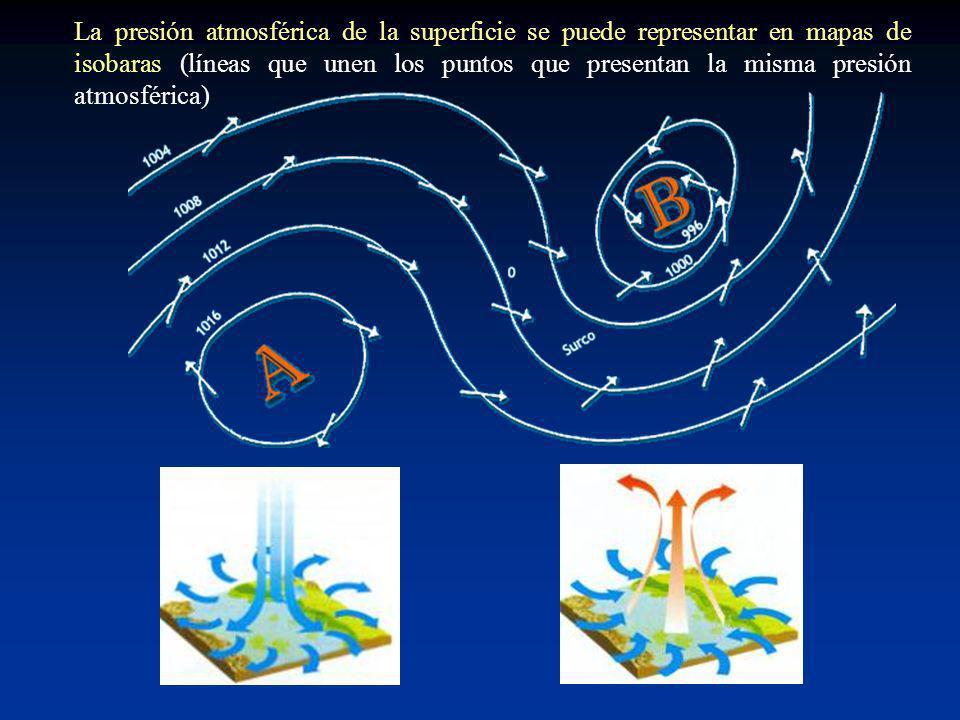 La presión atmosférica de la superficie se puede representar en mapas de isobaras (líneas que unen los puntos que presentan la misma presión atmosféri