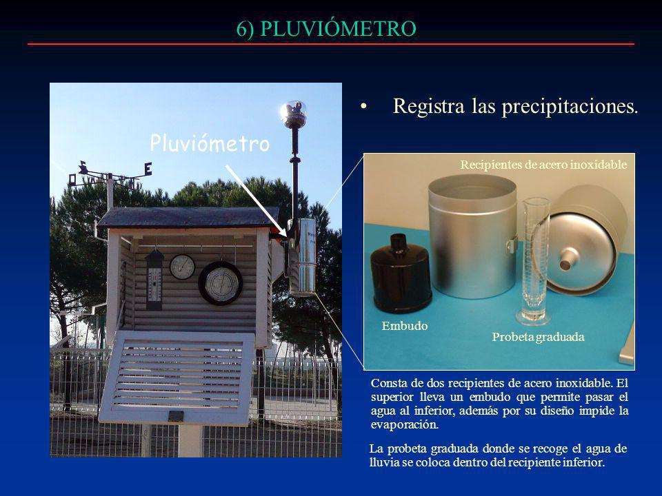 6) PLUVIÓMETRO Registra las precipitaciones. Pluviómetro Consta de dos recipientes de acero inoxidable. El superior lleva un embudo que permite pasar