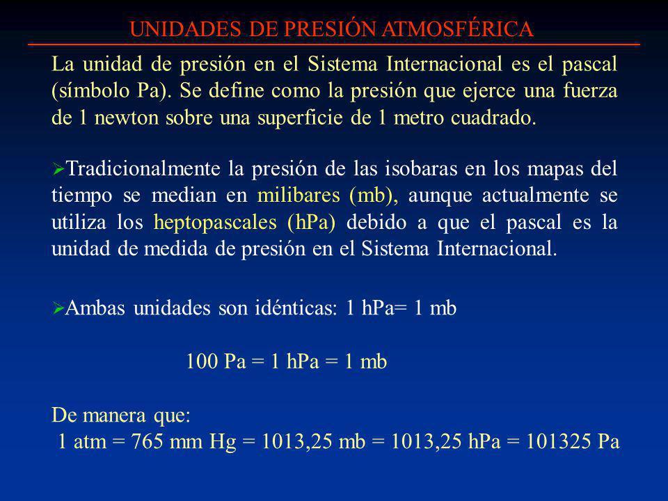 UNIDADES DE PRESIÓN ATMOSFÉRICA Tradicionalmente la presión de las isobaras en los mapas del tiempo se median en milibares (mb), aunque actualmente se