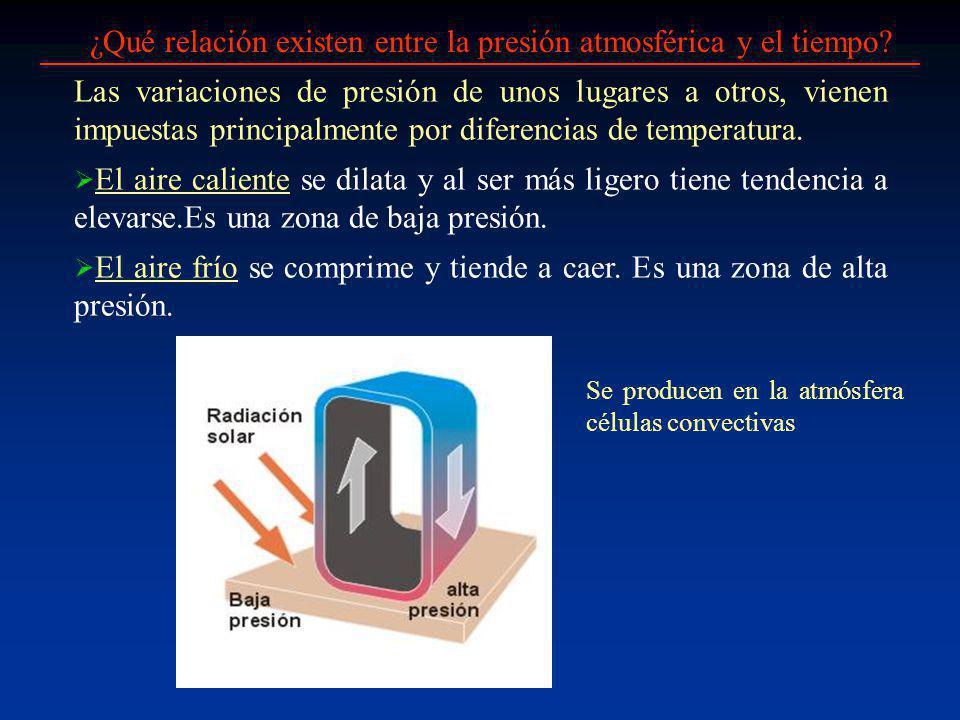 ¿Qué relación existen entre la presión atmosférica y el tiempo? El aire caliente se dilata y al ser más ligero tiene tendencia a elevarse.Es una zona