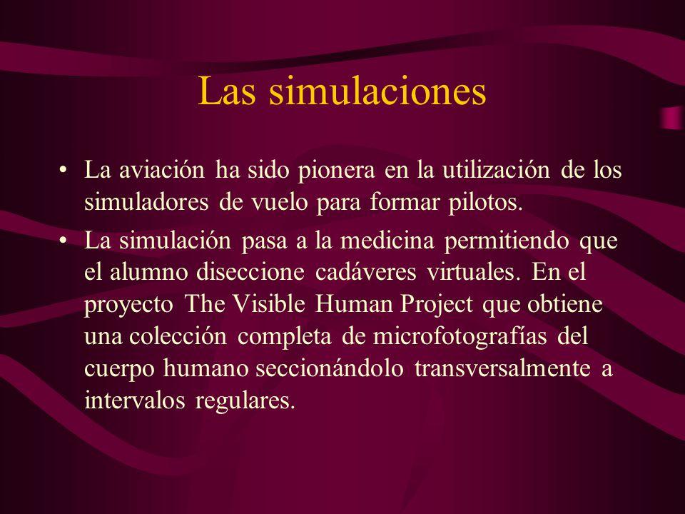 Las simulaciones La aviación ha sido pionera en la utilización de los simuladores de vuelo para formar pilotos. La simulación pasa a la medicina permi