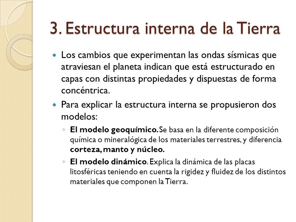 3. Estructura interna de la Tierra Los cambios que experimentan las ondas sísmicas que atraviesan el planeta indican que está estructurado en capas co