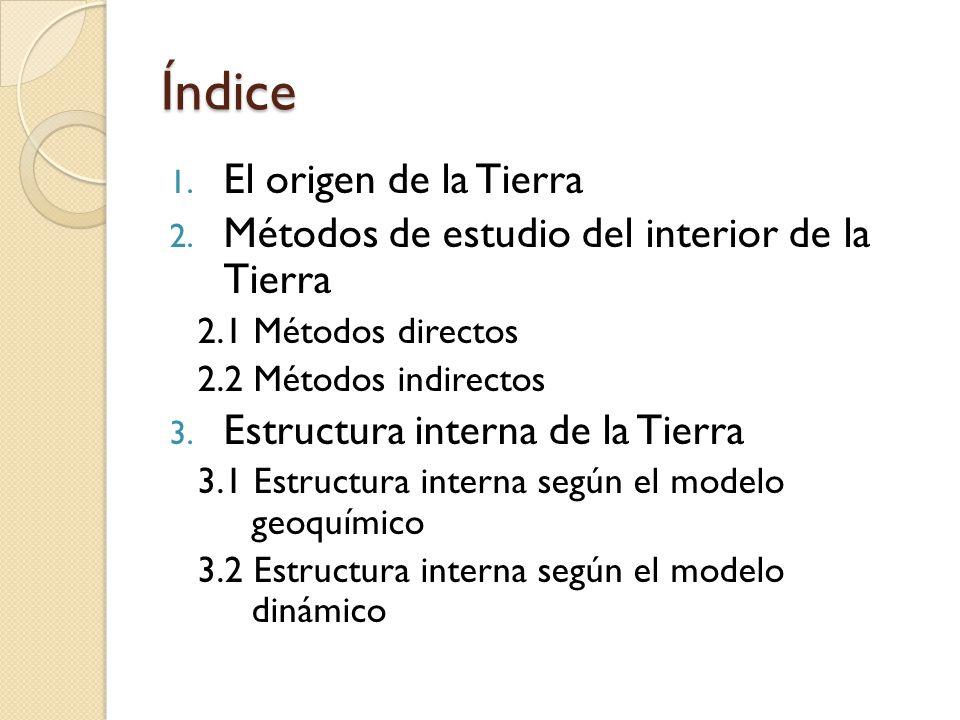 Índice 1. El origen de la Tierra 2. Métodos de estudio del interior de la Tierra 2.1 Métodos directos 2.2 Métodos indirectos 3. Estructura interna de