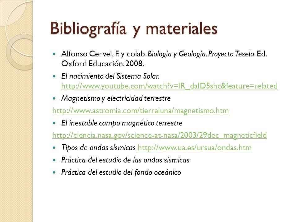 Bibliografía y materiales Alfonso Cervel, F. y colab. Biología y Geología. Proyecto Tesela. Ed. Oxford Educación. 2008. El nacimiento del Sistema Sola