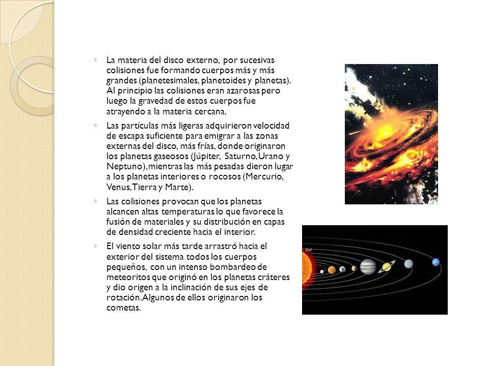 La materia del disco externo, por sucesivas colisiones fue formando cuerpos más y más grandes (planetesimales, planetoides y planetas). Al principio l