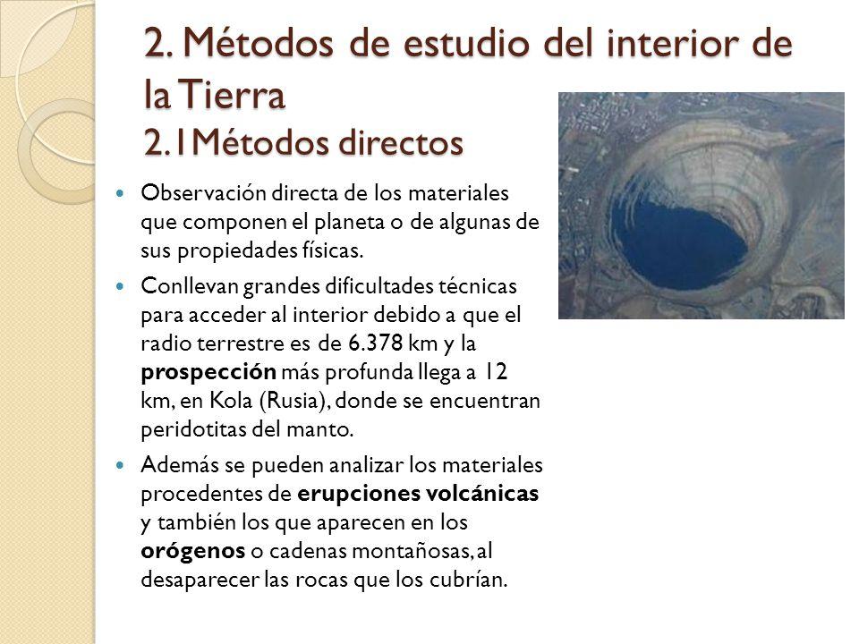 2. Métodos de estudio del interior de la Tierra 2.1Métodos directos Observación directa de los materiales que componen el planeta o de algunas de sus