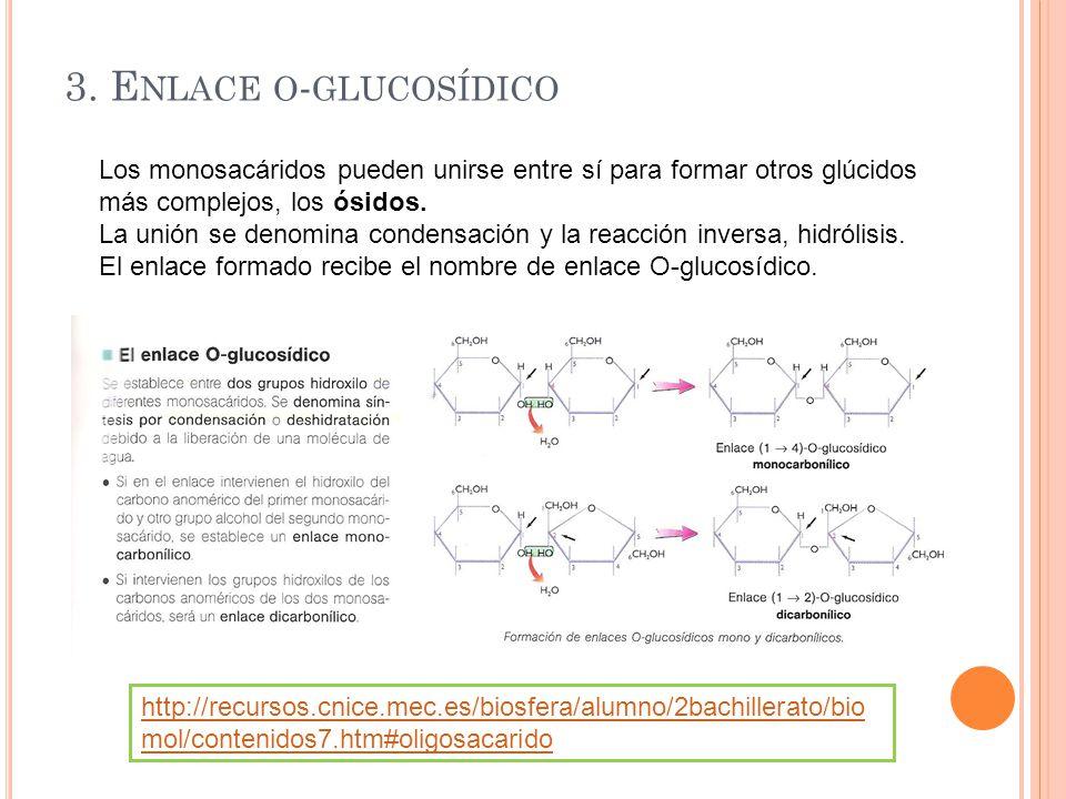 4.DISACÁRIDOS Formados por unión de dos monosacáridos.