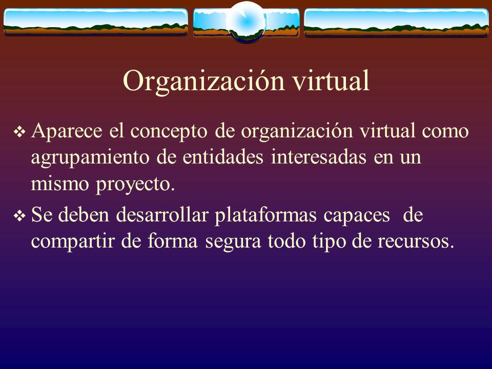 Organización virtual Aparece el concepto de organización virtual como agrupamiento de entidades interesadas en un mismo proyecto. Se deben desarrollar