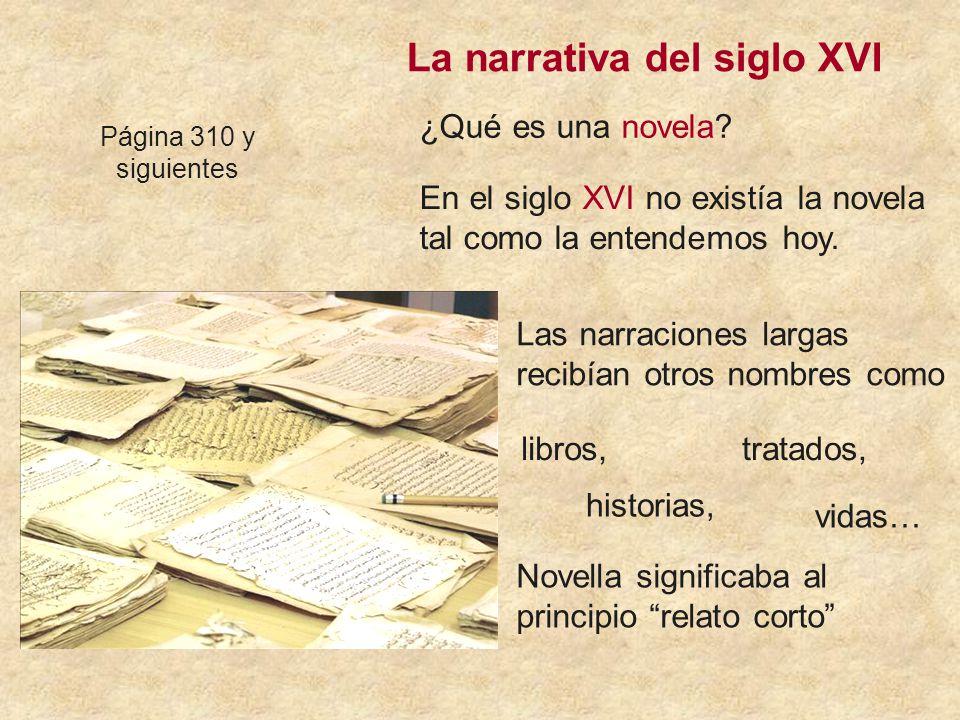 La narrativa del siglo XVI Página 310 y siguientes ¿Qué es una novela.
