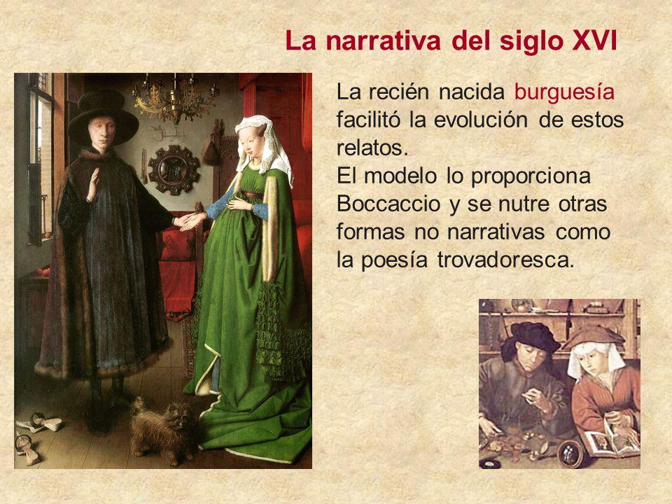 La narrativa del siglo XVI La recién nacida burguesía facilitó la evolución de estos relatos.