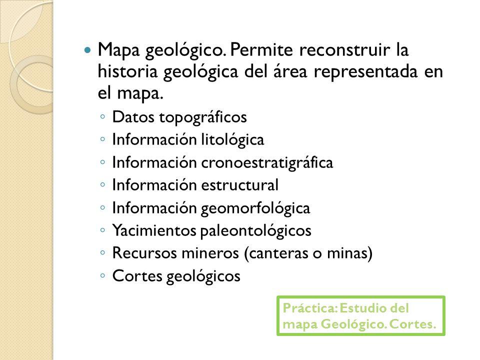 Mapa geológico. Permite reconstruir la historia geológica del área representada en el mapa. Datos topográficos Información litológica Información cron