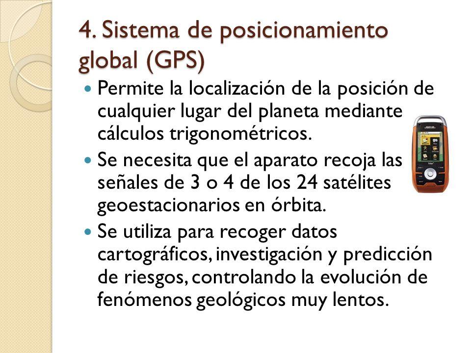 4. Sistema de posicionamiento global (GPS) Permite la localización de la posición de cualquier lugar del planeta mediante cálculos trigonométricos. Se